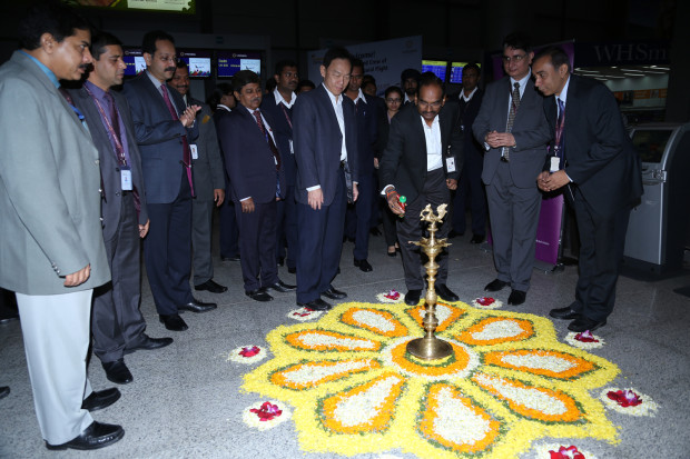 Vistara - Lamp lighting at Hyderabad Airport
