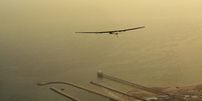 Solar Impulse takes off from Muscat towards Ahmedabad.