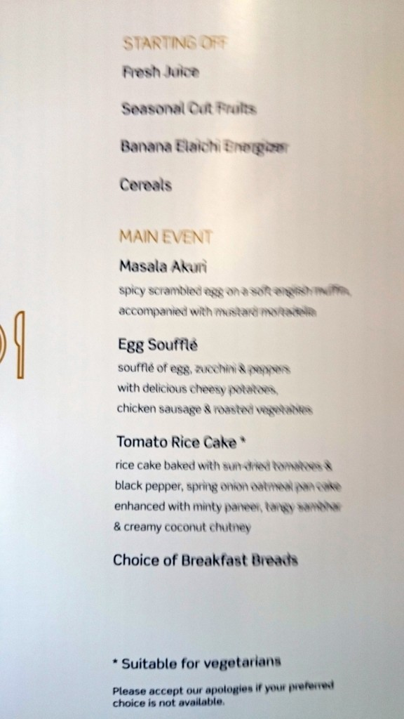 Vistara business class breakfast menu, main course.