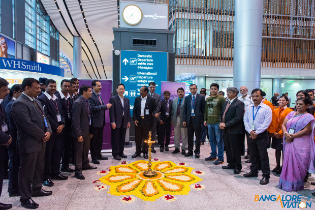 Vistara Hyderabad New Delhi inaugural flight. Lamp lighting ceremony with dignitaries.
