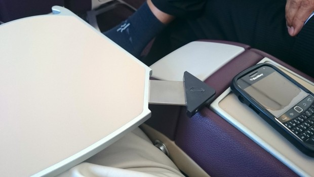 Vistara business class table extension gives stability.