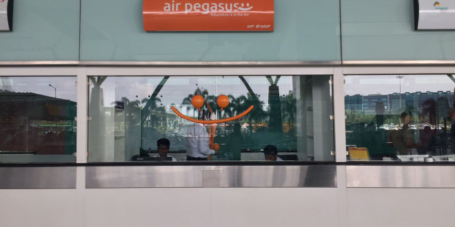 Air Pegasus counter at Kempegowda airport, Bangalore.