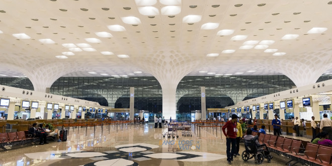 The check-in hall at Mumbai CSI airport.