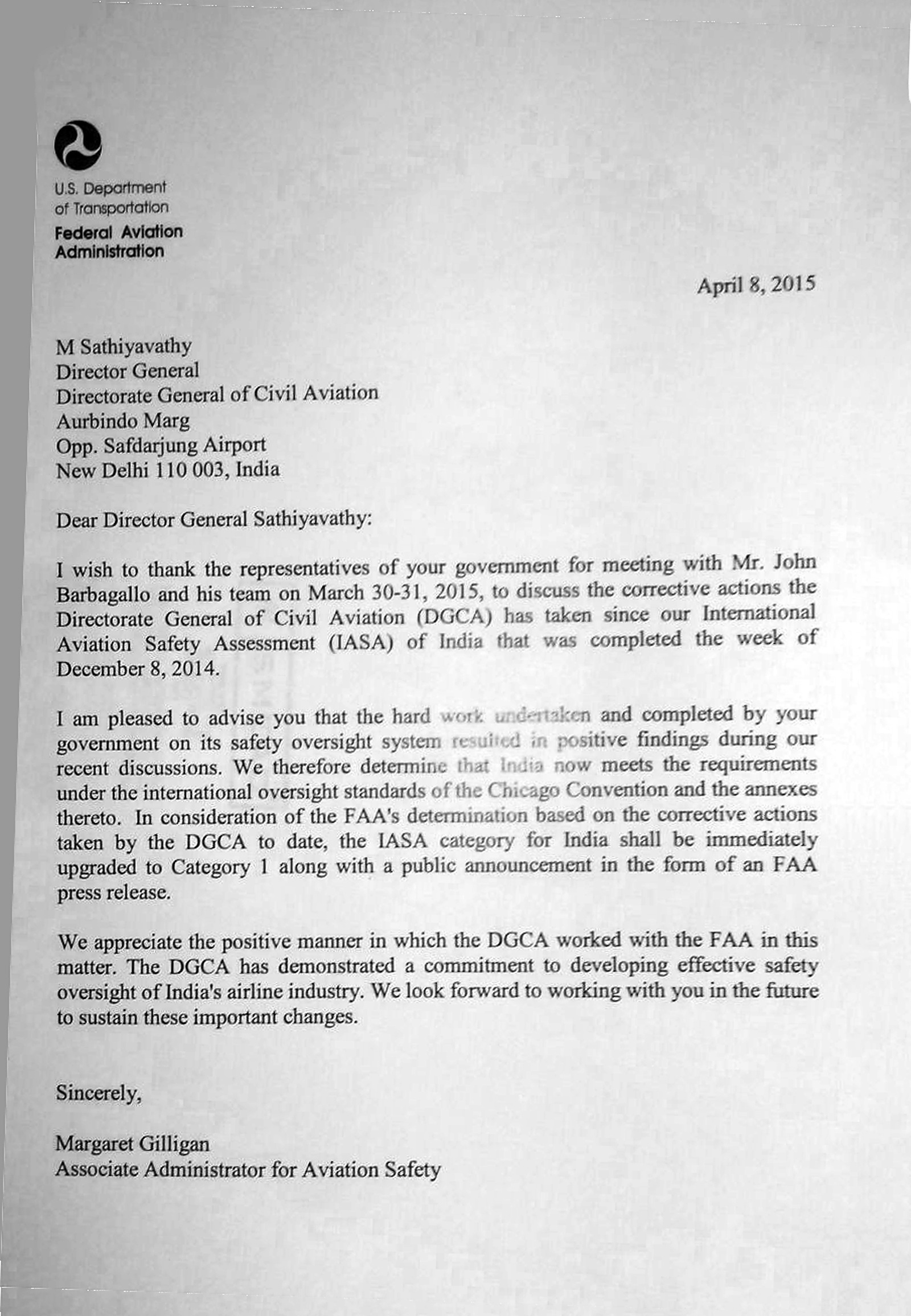 Letter From FAA To DGCA Announcing Upgrade Category 1
