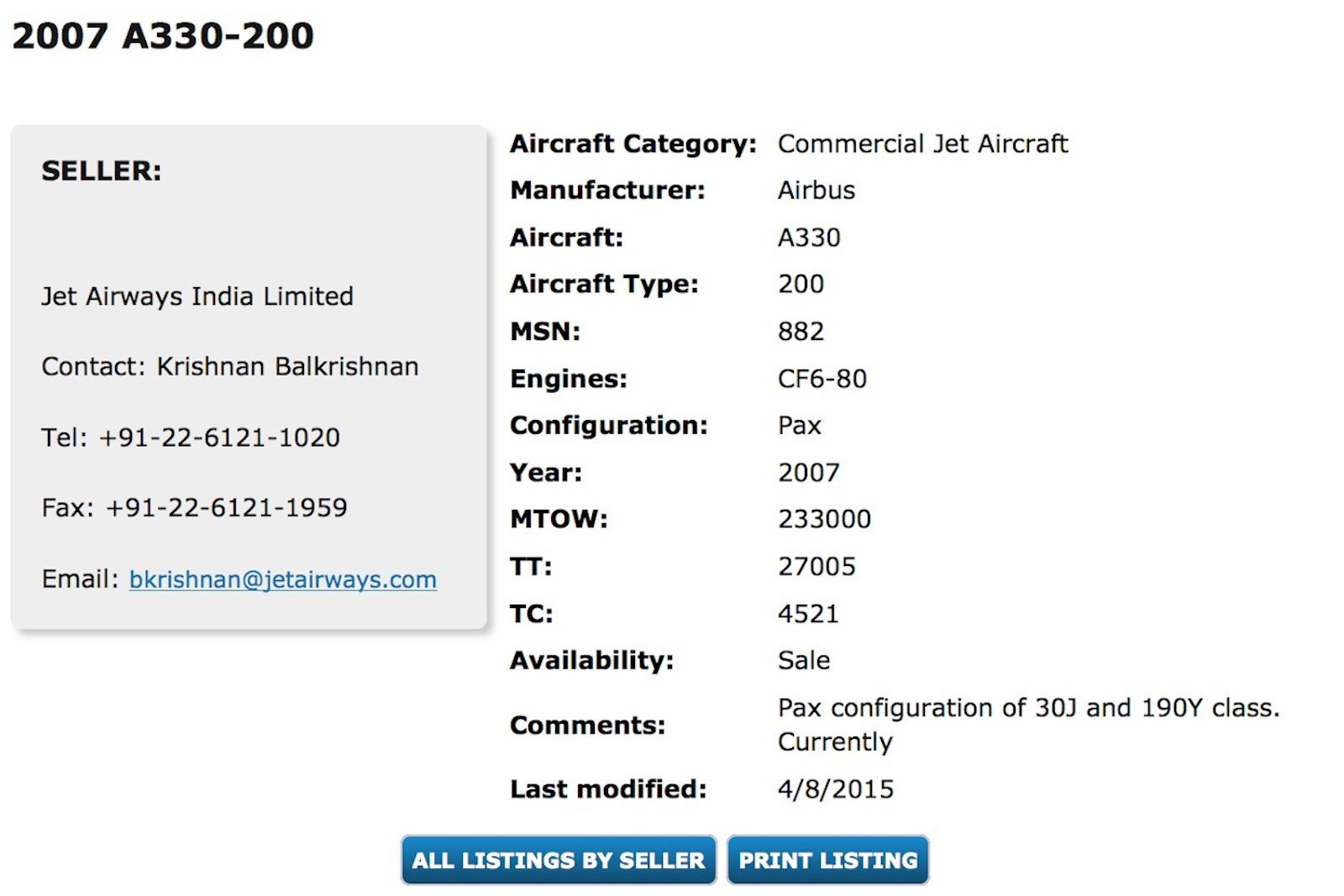Jet Airways offers all its Boeing 777 and Airbus A330-200s