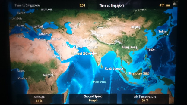 Route overview Mumbai Singapore. Flight duration: 5 hours. SQ423.
