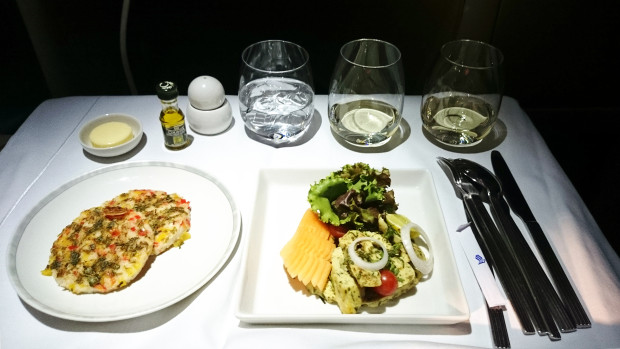 Singapore Airlines business class gluten free supper. Chicken pesto salad starter.