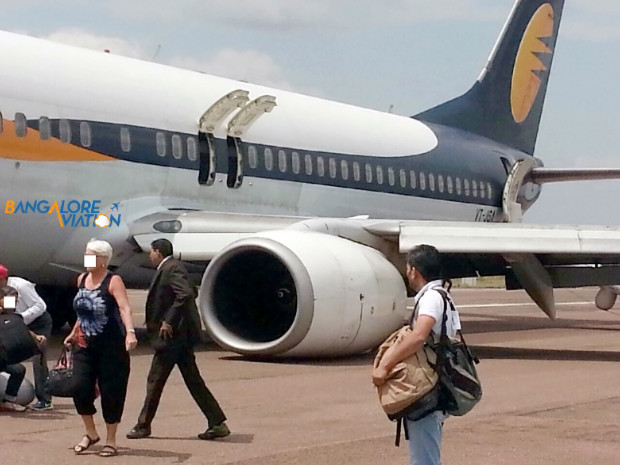 Jet Airways Boeing 737-800 VT-JGA landing gear collapse, Khajuraho airport. Incident not accident.