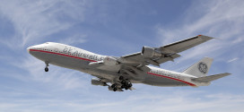 The First Flight of the LEAP-1B on a modified Boeing 747 testbed. Boeing Image.