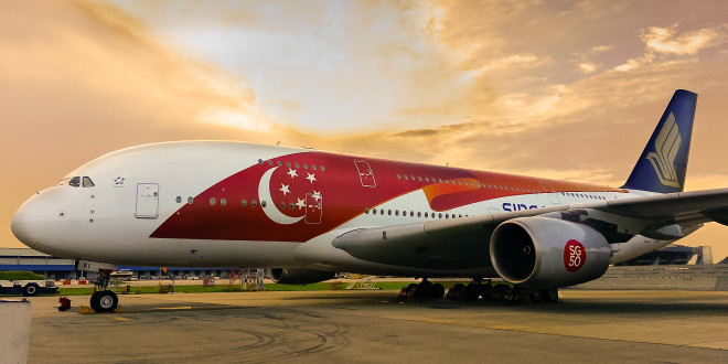 One of the two Airbus A380's painted into the special SG50 paint scheme.