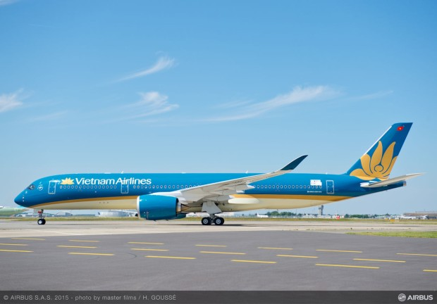 First A350-900 for Vietnam Airlines side view.