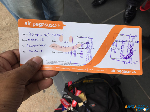 My return boarding pass from Madurai to Bangalore.