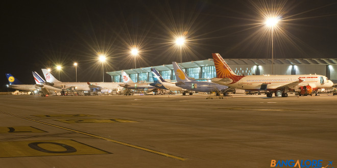A view of the ramp at Bangalore Airport.