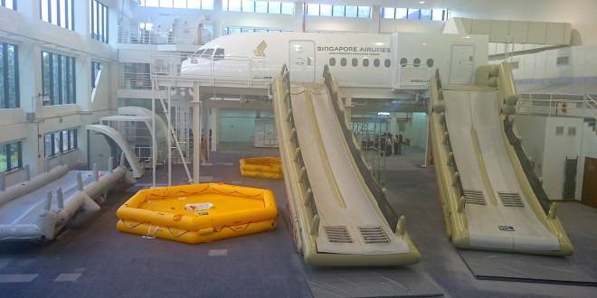 SIA Training Centre. Cabin evacuation training simulator