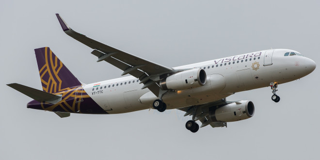Vistara Airbus A320 VT-TTC arrives at Bengaluru performing the airline's inaugural flight UK889 from New Delhi.