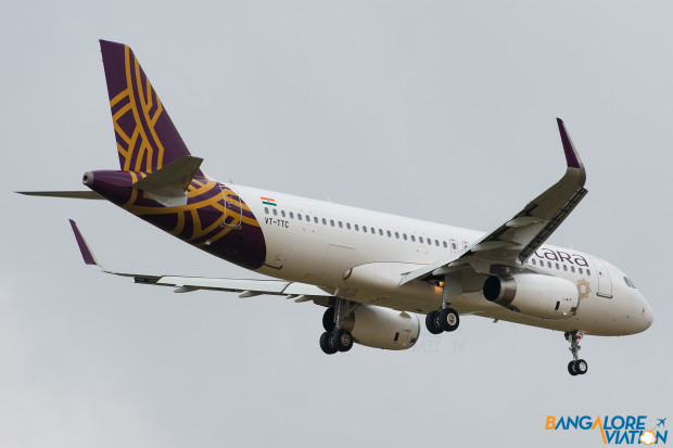 Vistara Airbus A320 VT-TTC. Operating the airlines first flight, UK889 to Bangalore.