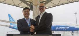 Boeing Japan President George Maffeo and Nagoya airport Nagoya, President and CEO Masanao Tomozoe, celebrate the donation of first 787-8 Dreamliner ZA001.