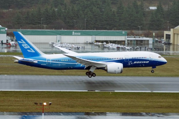 Boeing 787-8 Dreamliner ZA001 N787BA on the first flight of a Dreamliner. Boeing image.