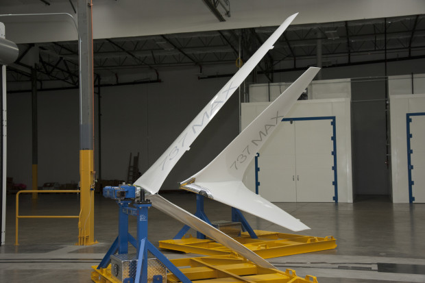 Pictured here is a close up of Boeing's new Advanced Technology winglets. The winglet on the left is the first production AT winglet for airplane 1 and the winglet on the right is a test article.