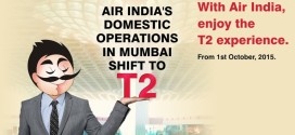 Air India's website banner announcing shift to T2 at Mumbai
