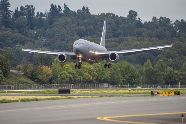 The KC-46A landing at Boeing Field. Boeing Image.
