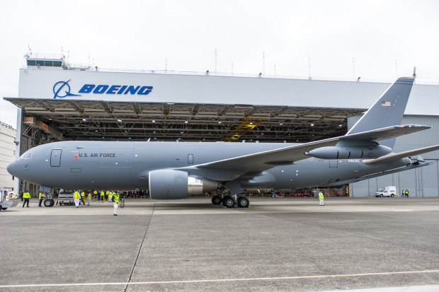 The KC-46A, with it's refueling pods and boom visible. Boeing Image.