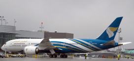 Oman Air's first Boeing 787-8 Dreamliner at the Everett delivery center. Boeing Image.