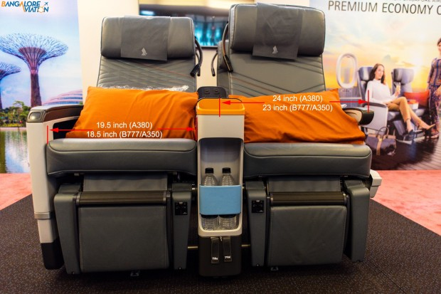 Singapore Airlines premium economy class seat is 24 inches wide, armrests included.