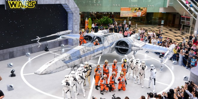 Star Wars characters with rebel X-wing Fighter. Photo courtesy Changi Airport