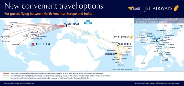 Jet Airways new flights via Amsterdam scissor hub and code-share with KLM and Delta