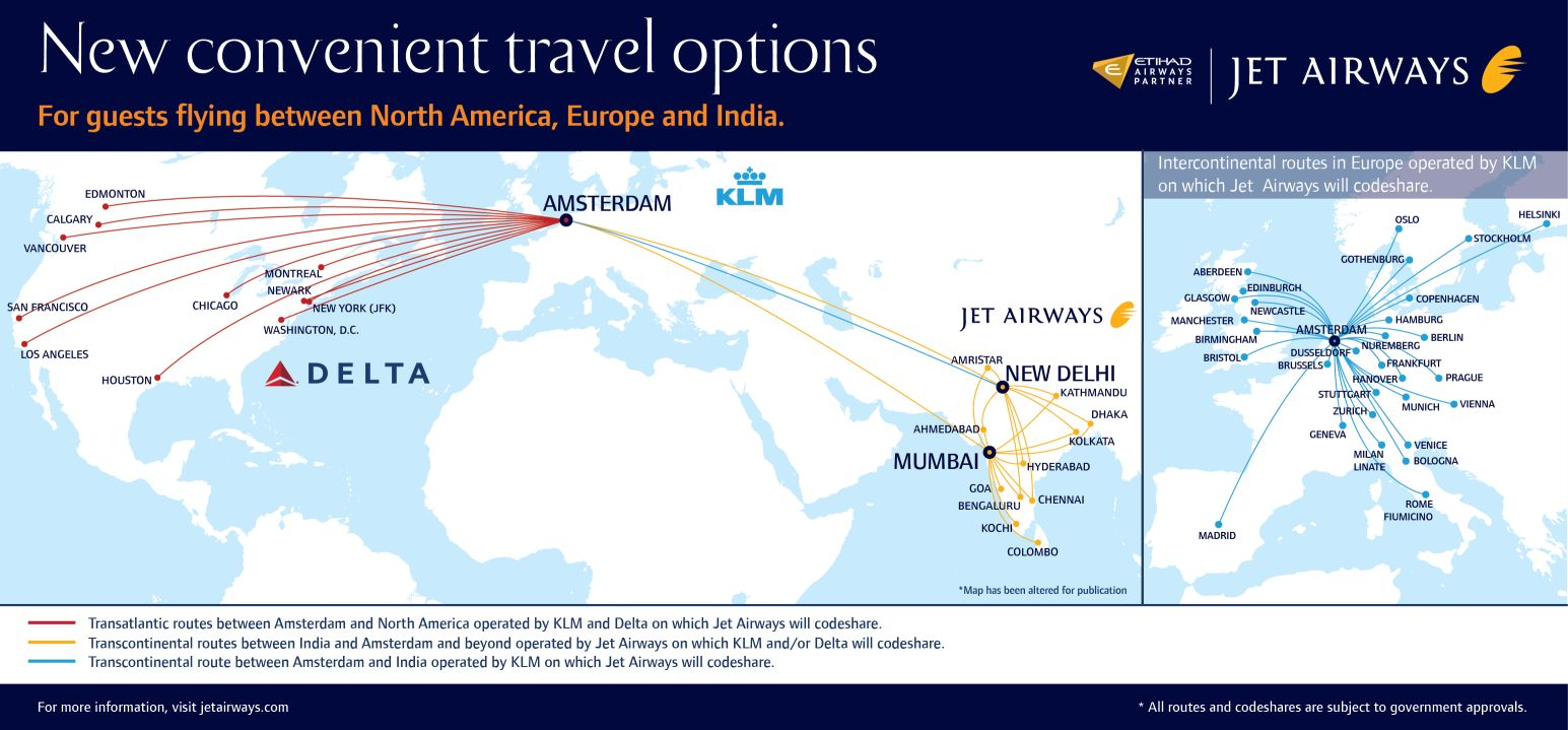 Jet Airways to codeshare with Delta, KLM, shift Brussels hub ...