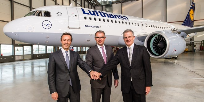 Fabrice Brégier, Airbus President and CEO, Carsten Spohr, Chairman of the Executive Board and CEO of Deutsche Lufthansa AG. Robert Leduc, Pratt & Whitney President