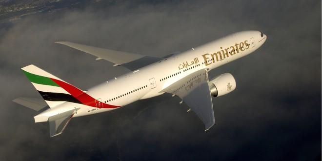 Emirates Boeing 777-200LR. Airline image.