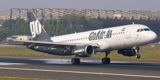 GoAir Airbus A320 VT-WAI lands at Mumbai airport. Photo by Devesh Agarwal.