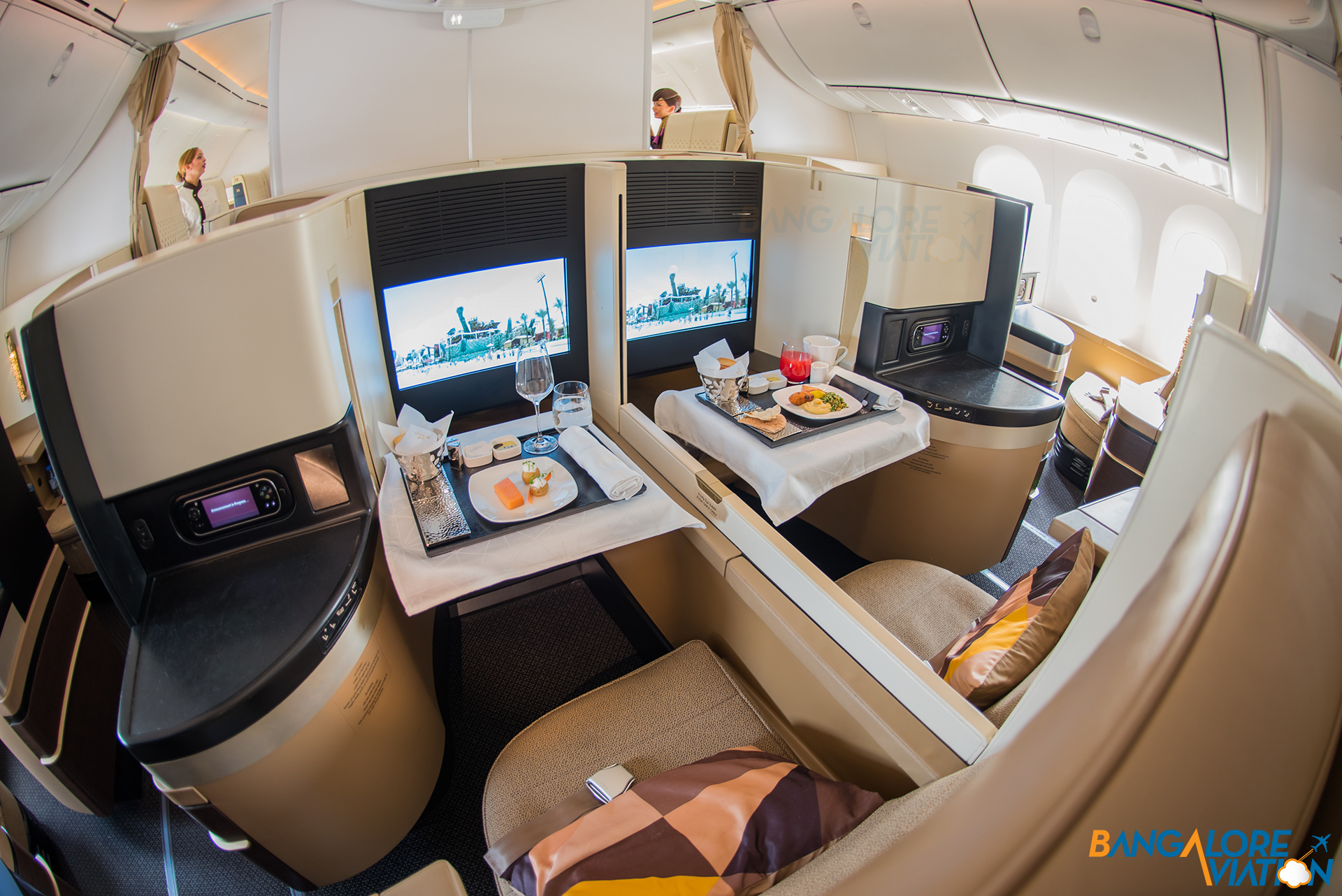 A Close Up Of Pair Forward Center Seats Business Cl Cabin On Etihad S Boeing