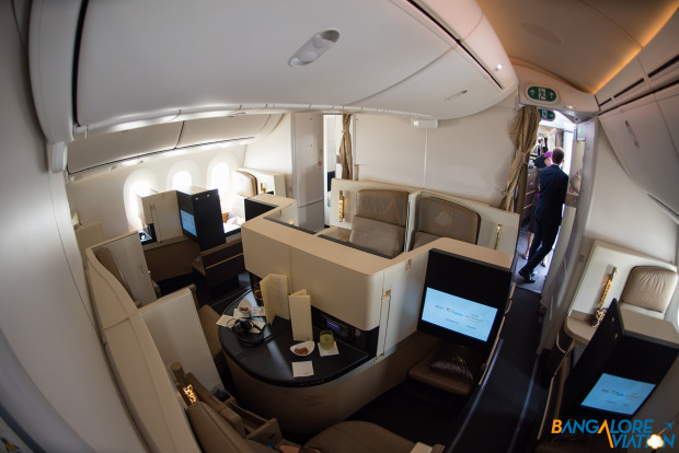 Business class cabin on Etihad's Boeing 787-9.