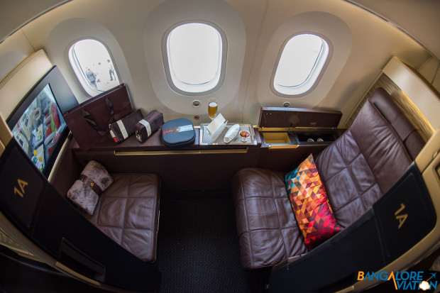 Suite 1A with the seat upright. Etihad First Class Boeing 787-9.