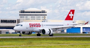 Bombardier CS100 in SWISS livery.