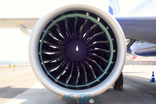 Indigo Airbus A320neo VT-ITC. Pratt & Whitney PurePower PW1127 Geared Turbo Fan engine. Copyrighted image. Re-use prohibited.