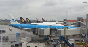 Three Jet Airways Aircraft standing at Schiphol, Amsterdam Airport on arrival from Mumbai, Delhi and Toronto