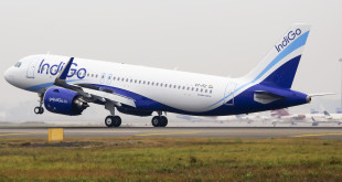 IndiGo first A320neo VT-ITC touches down at New Delhi's IGI airport after a non-stop flight from Toulouse, France