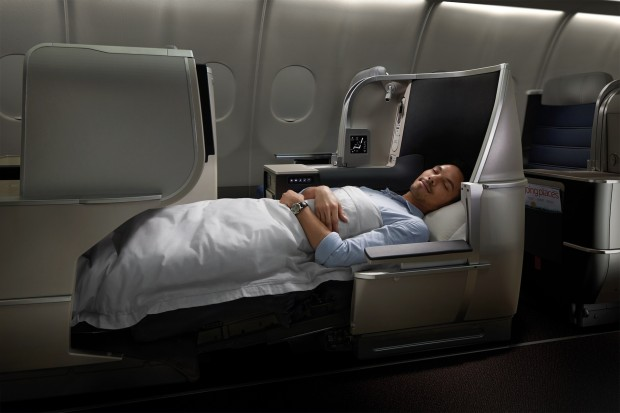 Malaysia Airlines flat bed in the new business class on the Airbus A330