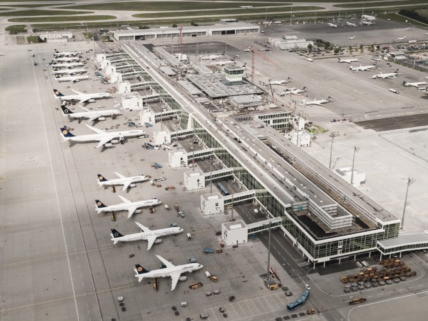 Line up of Lufthansa aircraft at the Terminal 2 satellite. Munich Airport Image.