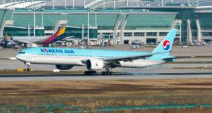 Korean Airlines Boeing 777-300ER HL7783 lands at Incheon airport.
