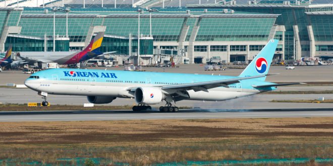 Korean Airlines Boeing 777-300ER HL7783 lands at Incheon airport.