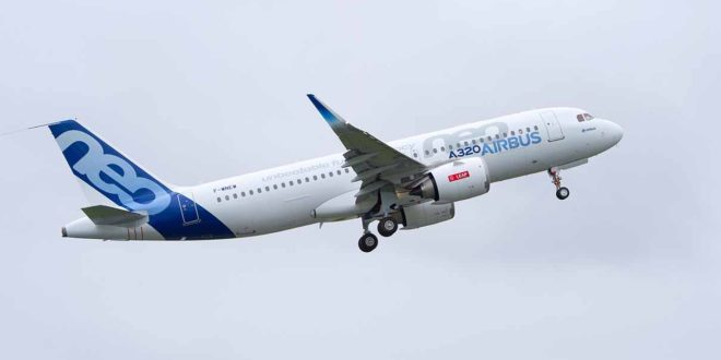 Airbus A320neo F-NEW with CFM LEAP-1A engine takes-off. Airbus photo.