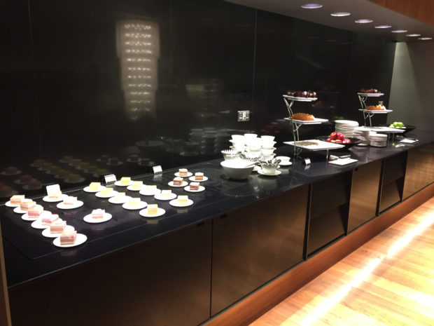 Dessert counter in the restaurant.