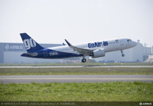 GoAir's first Airbus A320neo VT-WGA MSN7047 takes-off at Toulouse airport.