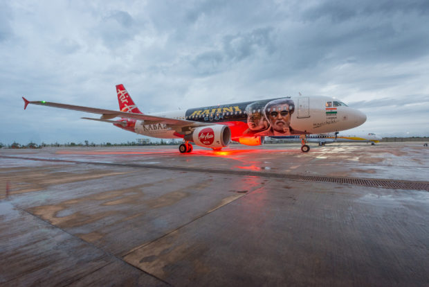 AirAsia India Airbus A320 VT-APJ in Rajinikanth Kabali livery. Airline photo.