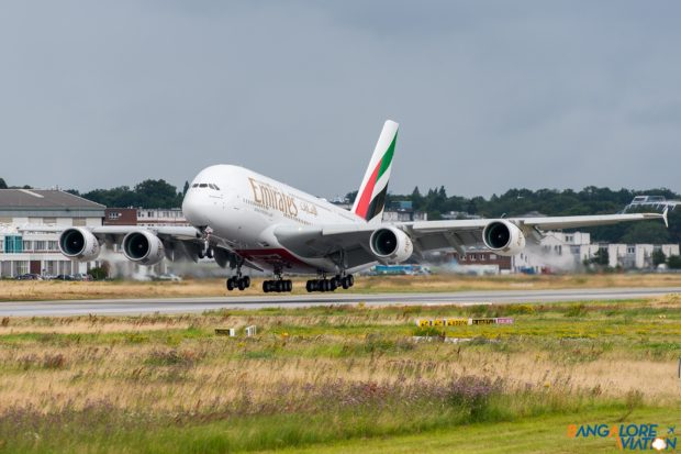 Emirates Airbus A380 F-WWAU. To be registered A6-EUE. Taking off for a test flight.